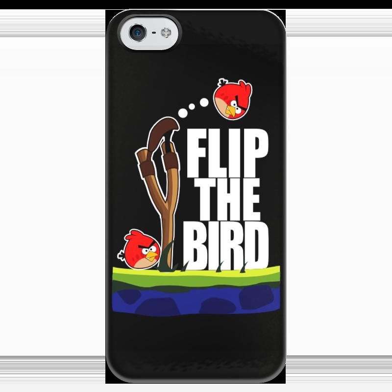 Чехол для iPhone 5 глянцевый, с полной запечаткой Printio Flip the bird чехол
