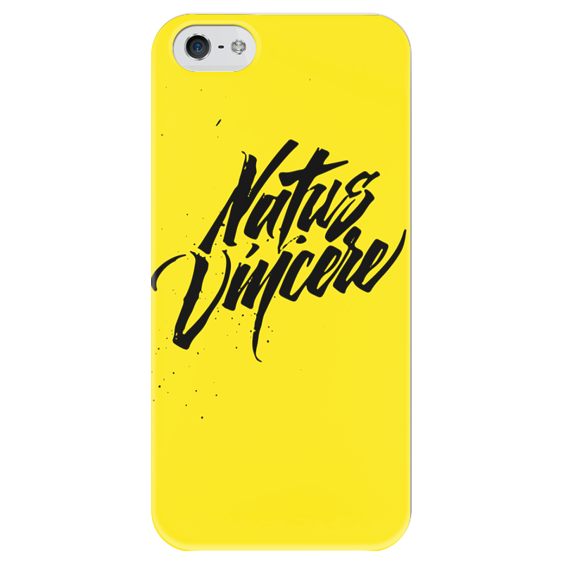 Чехол для iPhone 5 глянцевый, с полной запечаткой Printio Natus vincere (na'vi) – calligraphy yellow коврик для мышки printio natus vincere