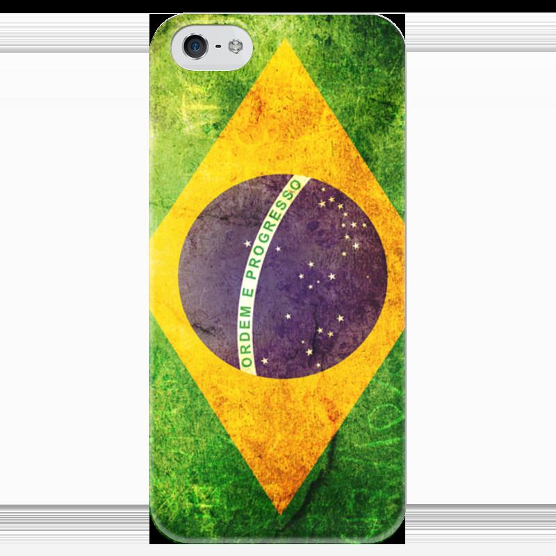 где купить  Чехол для iPhone 5 глянцевый, с полной запечаткой Printio Флаг бразилии  по лучшей цене