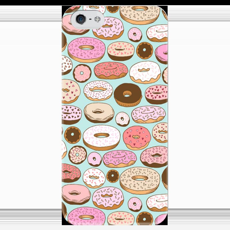 Чехол для iPhone 5 глянцевый, с полной запечаткой Printio Пончики чехол