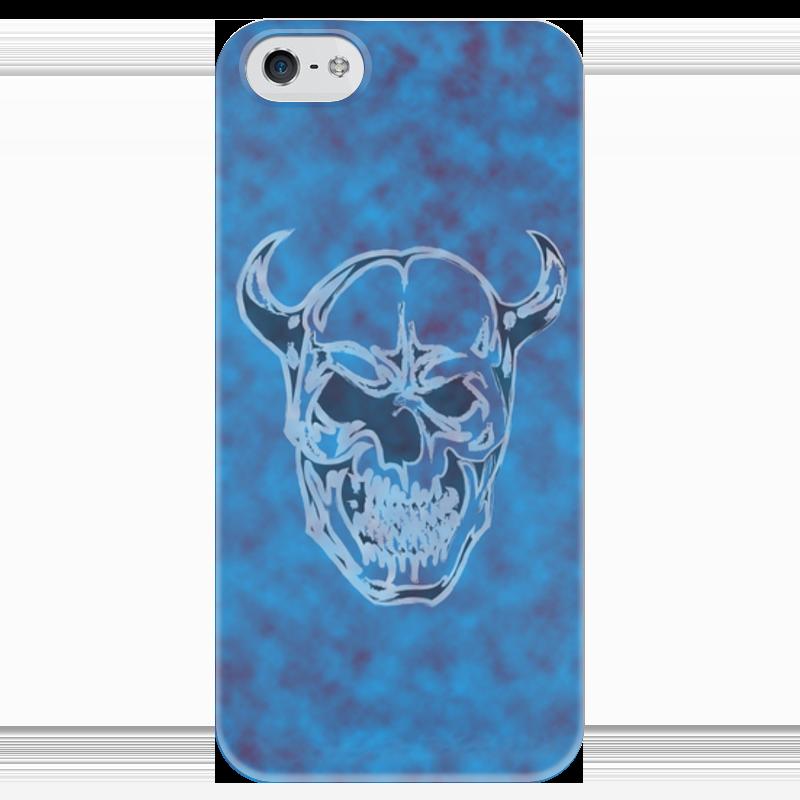 Чехол для iPhone 5 глянцевый, с полной запечаткой Printio Череп с рогами чехол для samsung galaxy s5 printio череп с рогами
