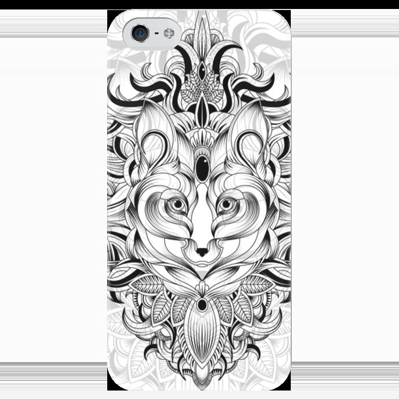 Чехол для iPhone 5 глянцевый, с полной запечаткой Printio Лиса в узорах тетрадь на спирали 96л цветы в узорах конгрев ламинат глянцевый цвет сиреневый