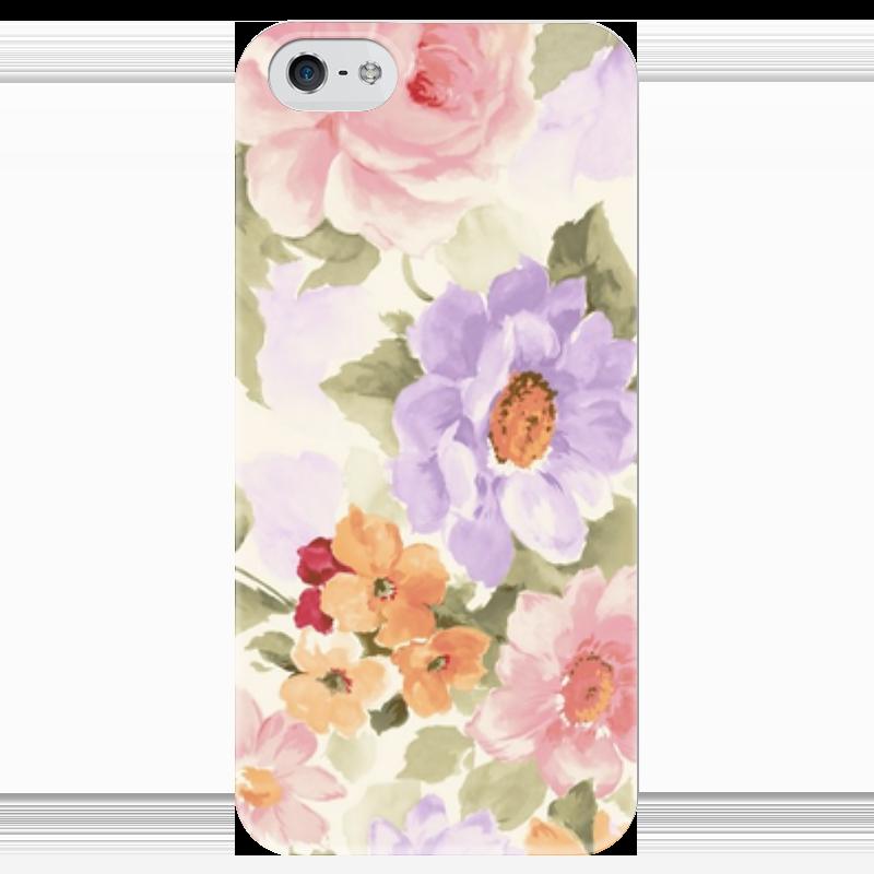 Чехол для iPhone 5 глянцевый, с полной запечаткой Printio Цветы чехол для iphone 5 глянцевый с полной запечаткой printio не трогай мой телефон