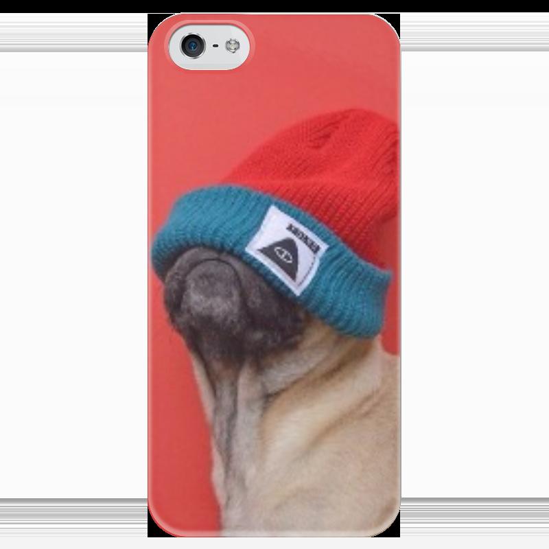 Чехол для iPhone 5 глянцевый, с полной запечаткой Printio Мопс в шапке чехол для iphone 5 глянцевый с полной запечаткой printio заяц в узорах