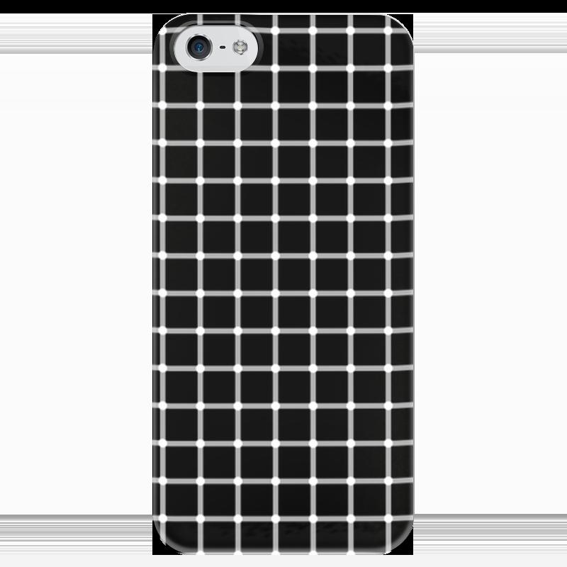 Чехол для iPhone 5 глянцевый, с полной запечаткой Printio Чёрная клетка пересечения