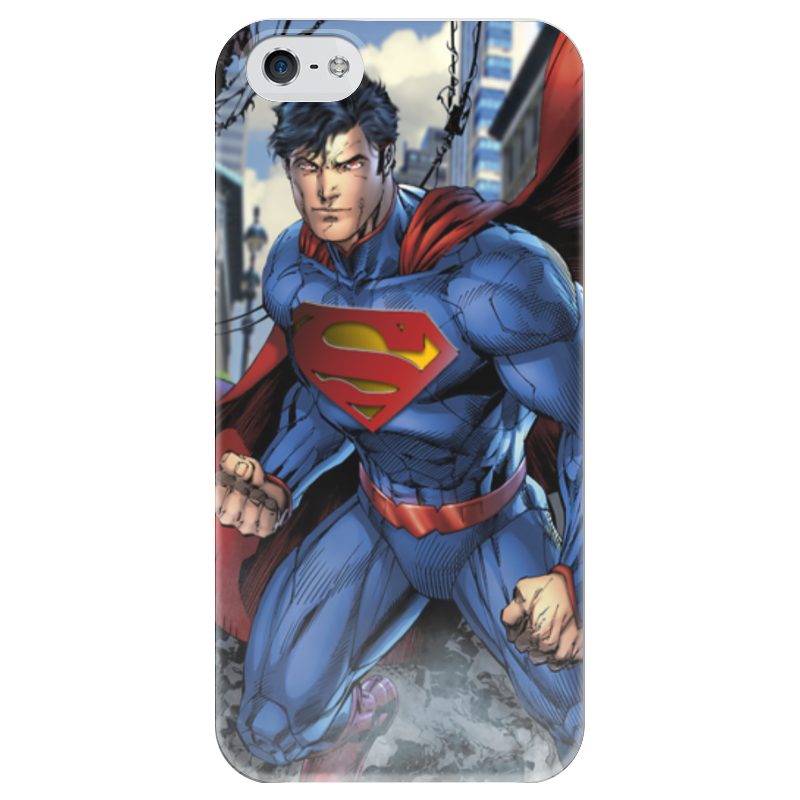 Чехол для iPhone 5 глянцевый, с полной запечаткой Printio Superman protective silicone back case for iphone 4s white