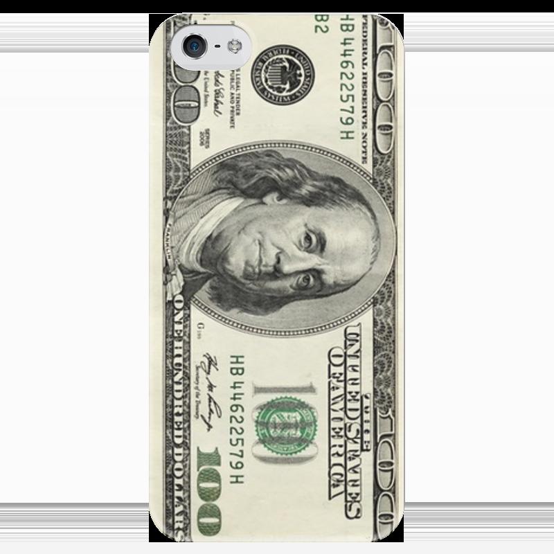 Чехол для iPhone 5 глянцевый, с полной запечаткой Printio 100 dollars