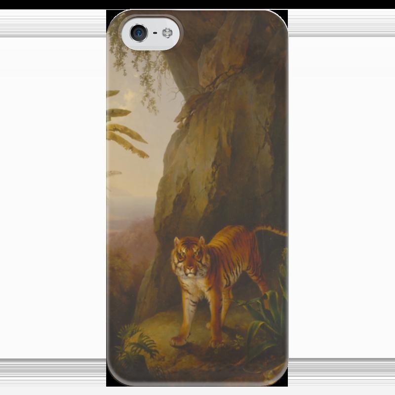 Чехол для iPhone 5 глянцевый, с полной запечаткой Printio Тигр в пещере (жак-лоран агас) жак рейн в россии