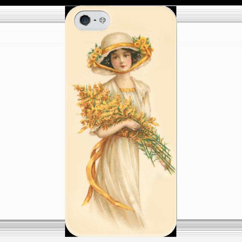 Чехол для iPhone 5 глянцевый, с полной запечаткой Printio Девушка с цветами девушка с веслом