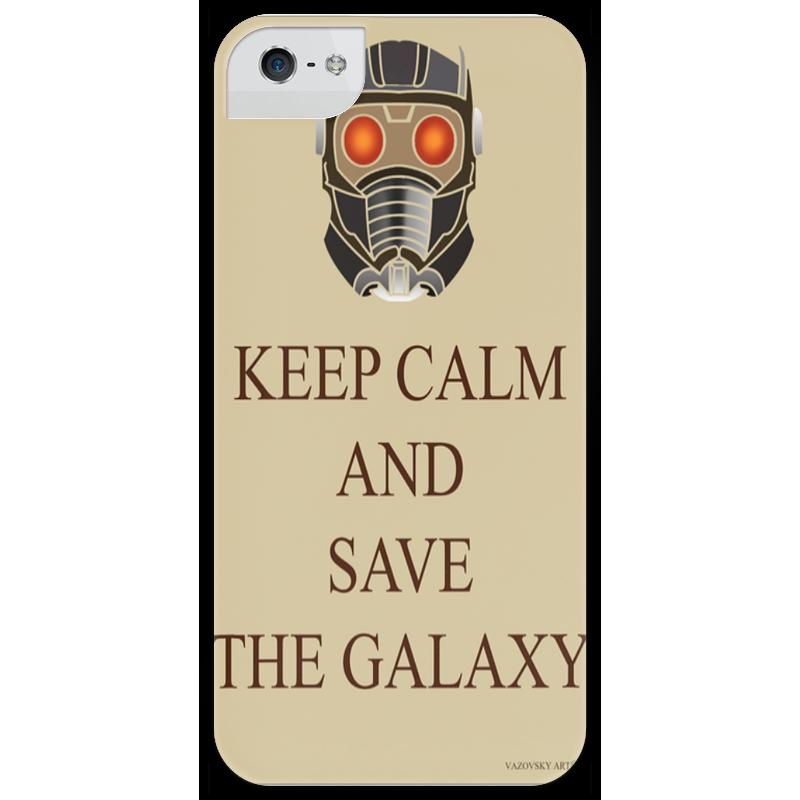 Чехол для iPhone 5 глянцевый, с полной запечаткой Printio Keep calm and save the galaxy футболка wearcraft premium printio keep calm