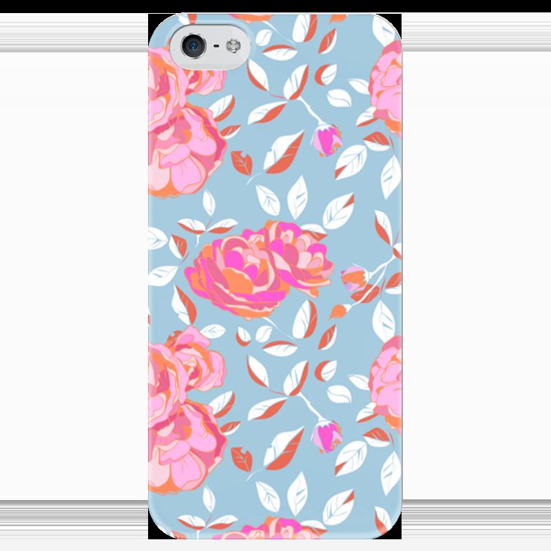 Чехол для iPhone 5 глянцевый, с полной запечаткой Printio Roses on blue