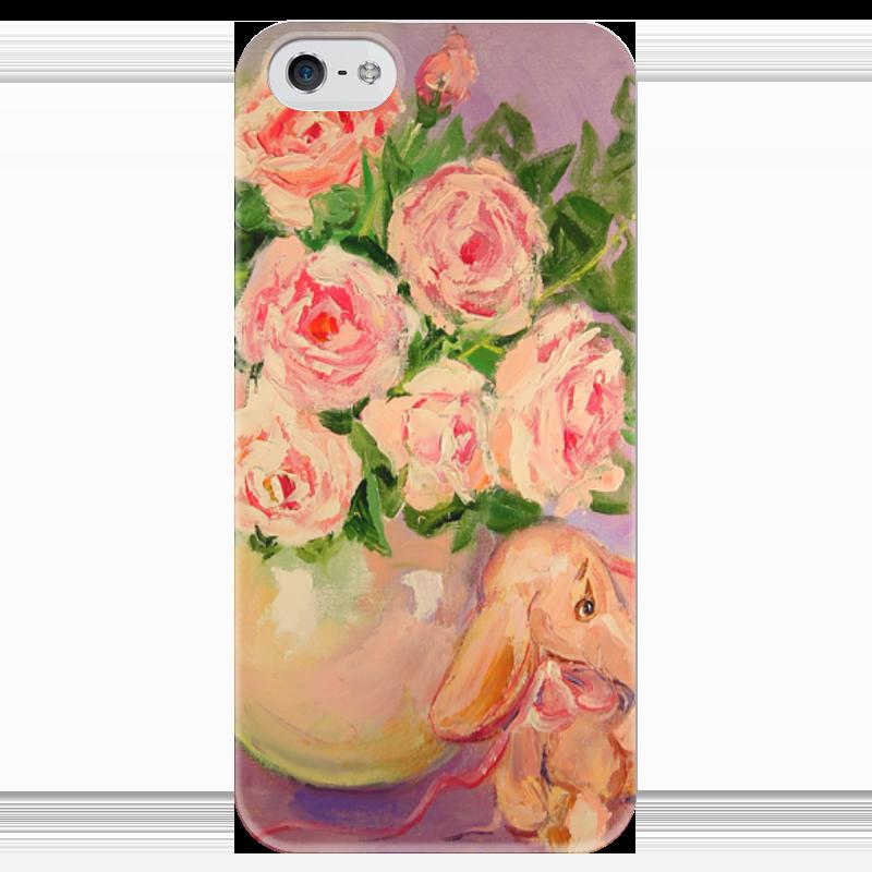 Чехол для iPhone 5 глянцевый, с полной запечаткой Printio Розовая нежность! funny smile чехол для iphone 5 глянцевый с полной запечаткой printio не трогай мой телефон