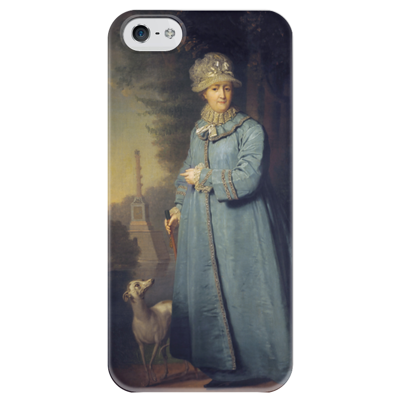 Чехол для iPhone 5 глянцевый, с полной запечаткой Printio Екатерина ii на прогулке в царскосельском парке