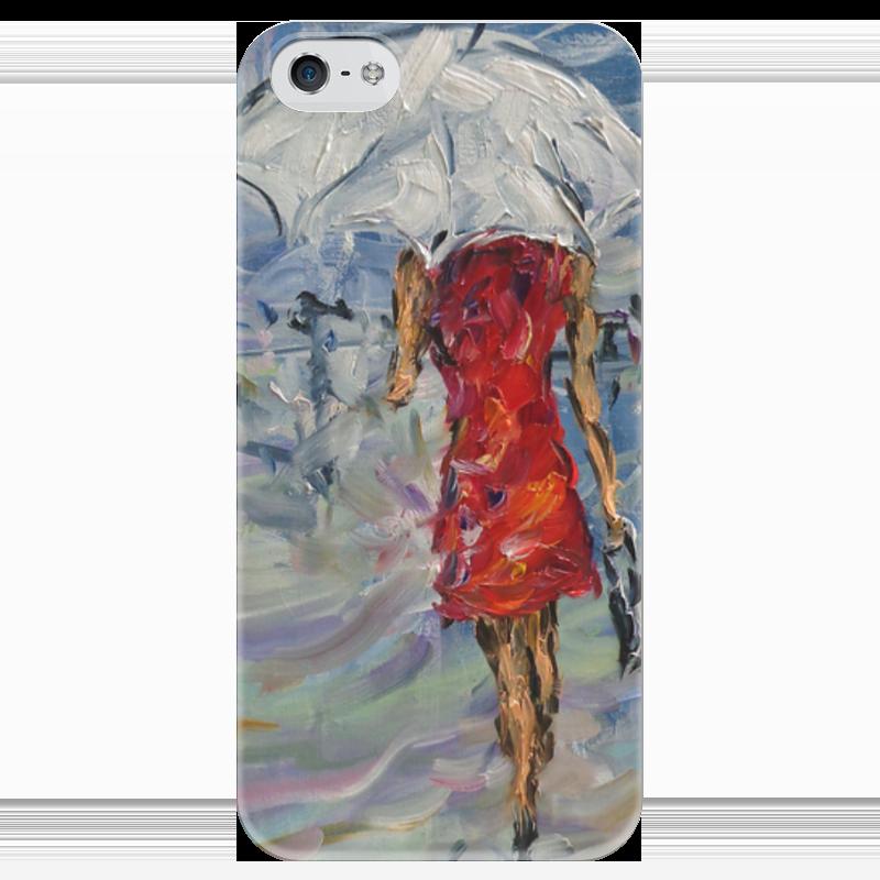 Чехол для iPhone 5 глянцевый, с полной запечаткой Printio Девушка в красном куплю еврозаборы в красном луче