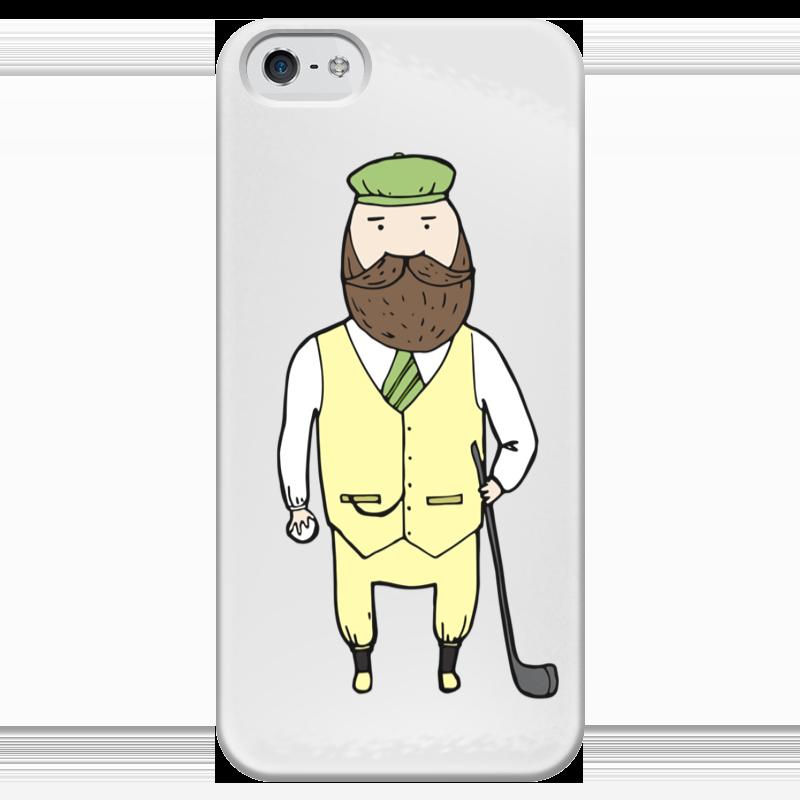 Чехол для iPhone 5 глянцевый, с полной запечаткой Printio Джентльмен с клюшкой для гольфа чехол для samsung galaxy note printio джентльмен с клюшкой для гольфа