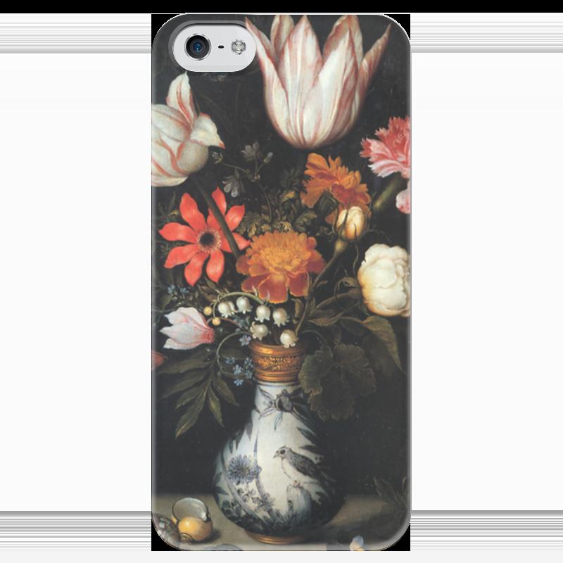 где купить Чехол для iPhone 5 глянцевый, с полной запечаткой Printio Тюльпаны, розы и другие цветы в вазе (босхарт) по лучшей цене