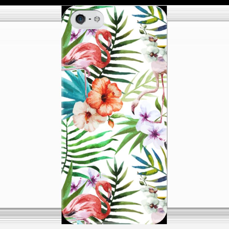 Чехол для iPhone 5 глянцевый, с полной запечаткой Printio Фламинго чехол для карточек фламинго и ананас с усами дк2017 101