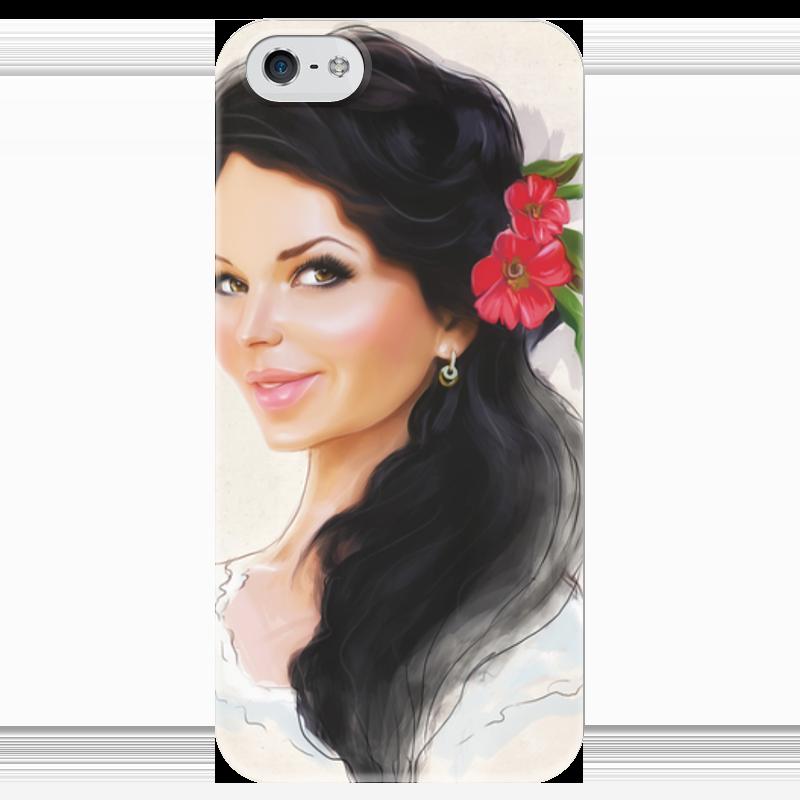 Чехол для iPhone 5 глянцевый, с полной запечаткой Printio Девушка с цветком чехол для iphone 4 глянцевый с полной запечаткой printio девушка