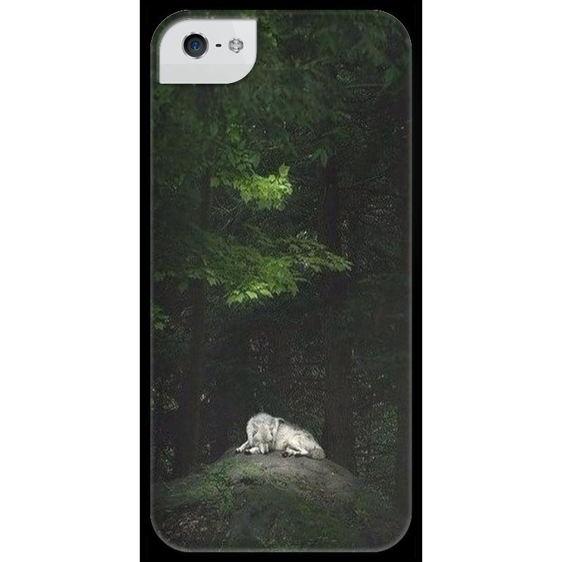 Чехол для iPhone 5 глянцевый, с полной запечаткой Printio Одинокий волк чехол для iphone 4 глянцевый с полной запечаткой printio волк и лис