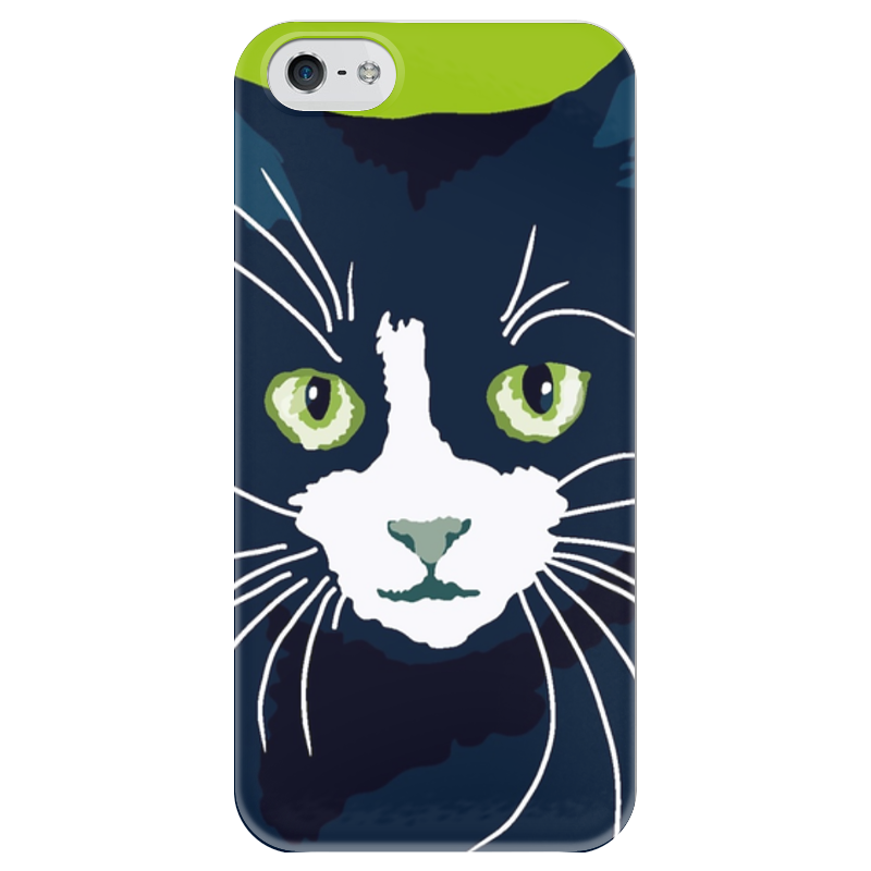 Чехол для iPhone 5 глянцевый, с полной запечаткой Printio Чёрный кот чехол для iphone 6 глянцевый printio кот бу