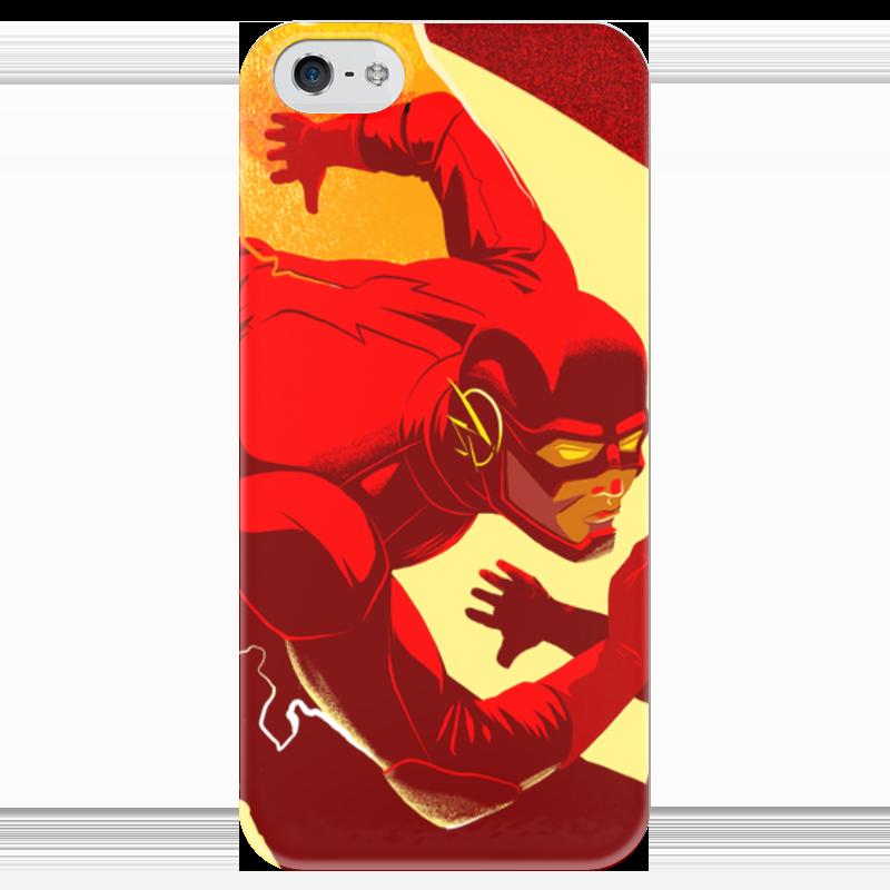 Чехол для iPhone 5 глянцевый, с полной запечаткой Printio The flash