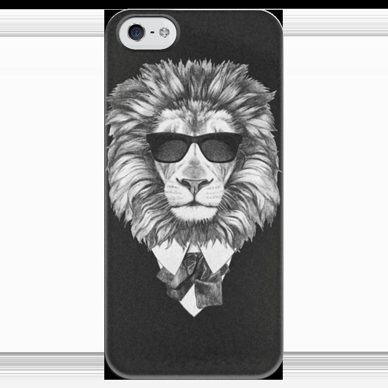 Чехол для iPhone 5 глянцевый, с полной запечаткой Printio Черно-белый лев
