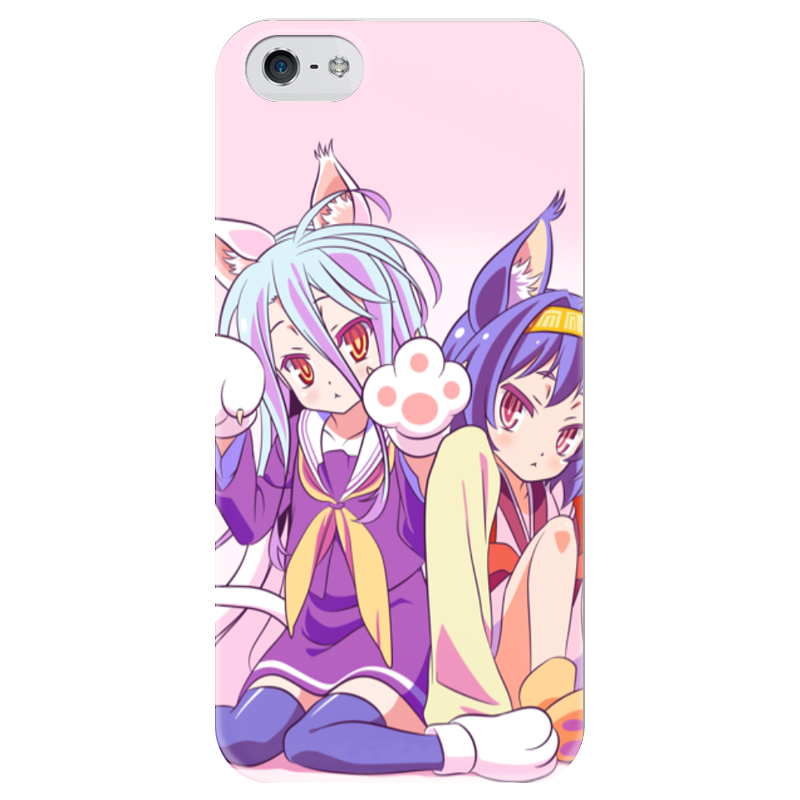 Чехол для iPhone 5 глянцевый, с полной запечаткой Printio Широ и изуна. no game no life free shipping 5 no game no life anime jibril angel wings 1 7 scale boxed 13cm pvc action figure collection model doll toys gift
