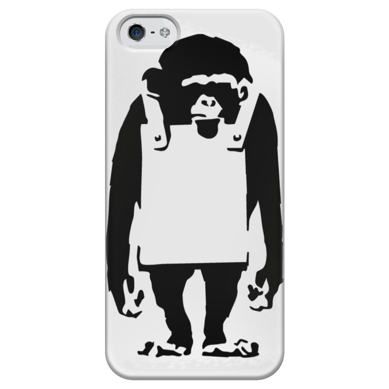купить Чехол для iPhone 5 глянцевый, с полной запечаткой Printio Шимпанзе с рекламным щитом по цене 1980 рублей