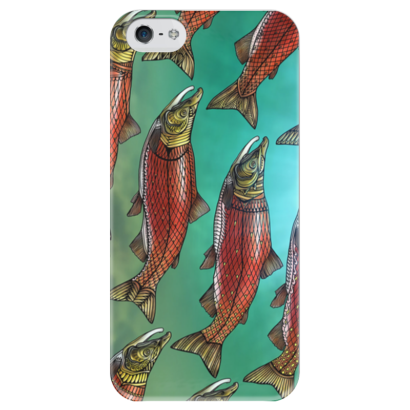 Чехол для iPhone 5 глянцевый, с полной запечаткой Printio Red fishes