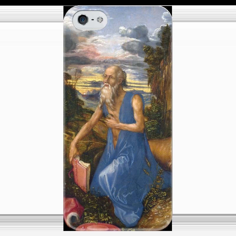 Чехол для iPhone 5 глянцевый, с полной запечаткой Printio Святой иероним в пустыне