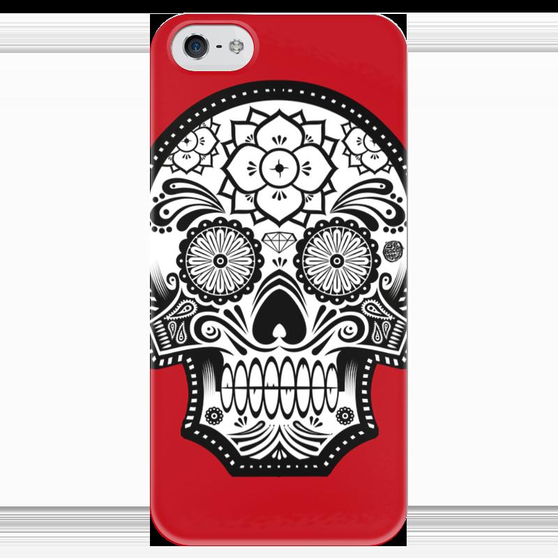 Чехол для iPhone 5 глянцевый, с полной запечаткой Printio Santa muerte skull чехол для iphone 7 глянцевый printio skull art