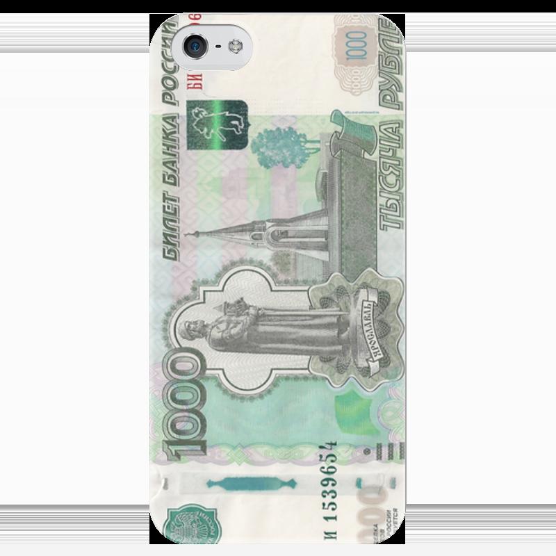 Чехол для iPhone 5 глянцевый, с полной запечаткой Printio Тысяча рублей чехол