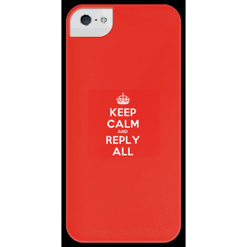 Чехол для iPhone 5 глянцевый, с полной запечаткой Printio Keep calm and reply all.red sahar cases чехол keep calm and love me iphone 5 5s 5c