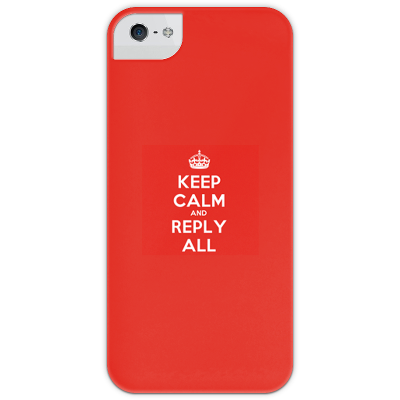 Чехол для iPhone 5 глянцевый, с полной запечаткой Printio Keep calm and reply all.red футболка wearcraft premium printio keep calm