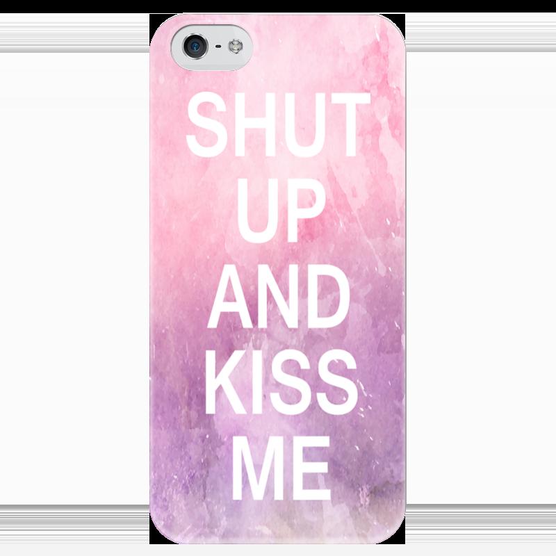 Чехол для iPhone 5 глянцевый, с полной запечаткой Printio Shut up and kiss me roomble подушка с надписью shut that door