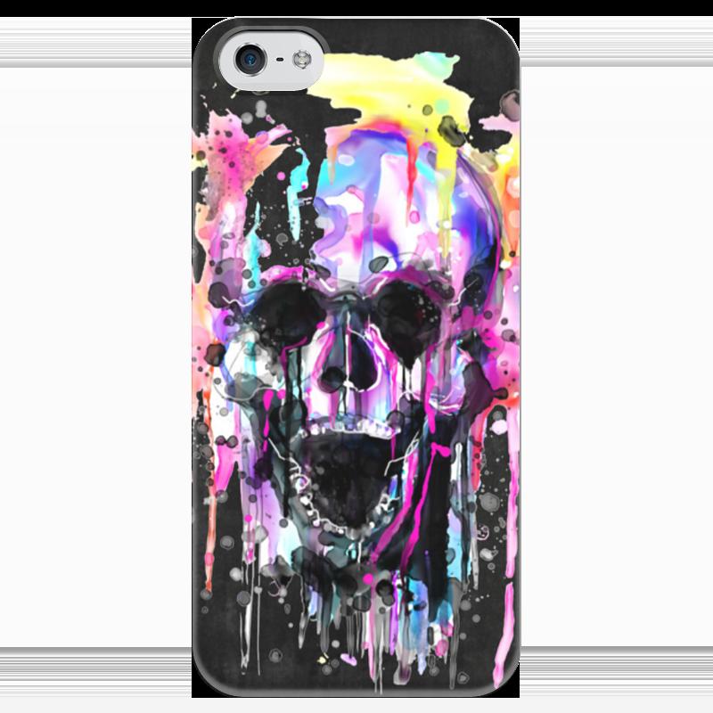 Чехол для iPhone 5 глянцевый, с полной запечаткой Printio Череп (краски) чехол для iphone 4 глянцевый с полной запечаткой printio череп