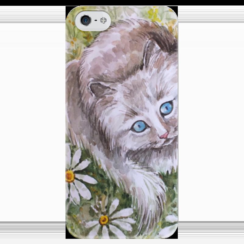 Чехол для iPhone 5 глянцевый, с полной запечаткой Printio ромашковый кот чехол для iphone 6 глянцевый printio кот бу