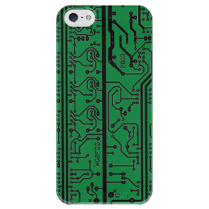Чехол для iPhone 5 глянцевый, с полной запечаткой Printio Электроника электроника в автомобиле вып 123
