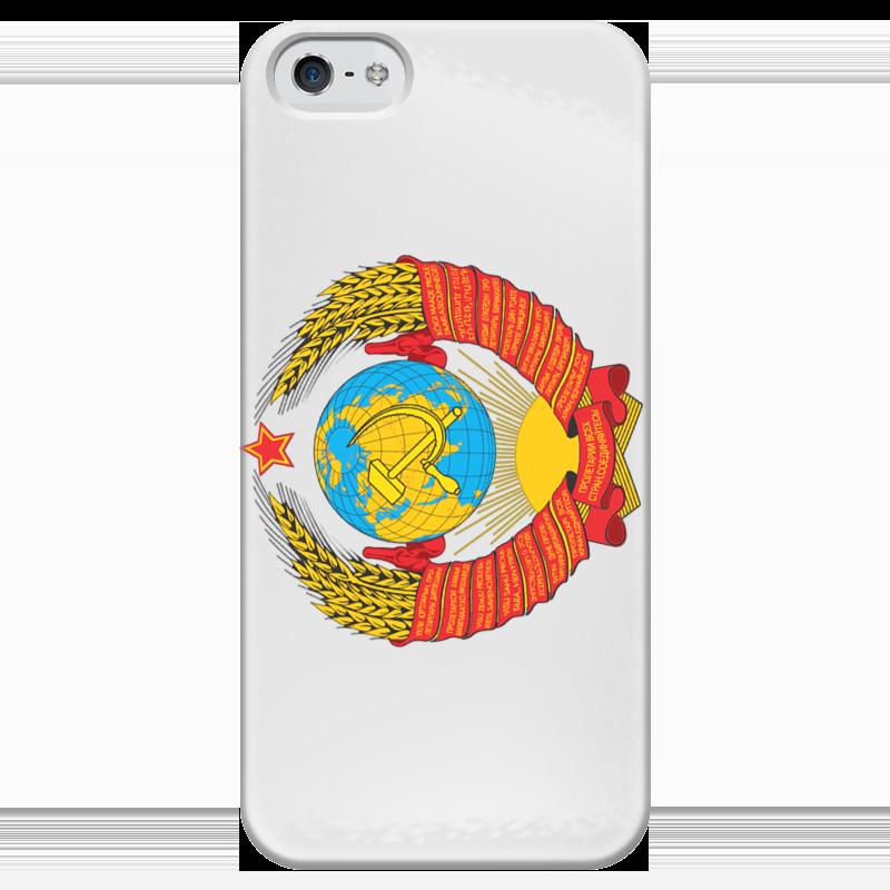 Чехол для iPhone 5 глянцевый, с полной запечаткой Printio Герб ссср чехол для iphone 5 глянцевый с полной запечаткой printio паспорт ссср