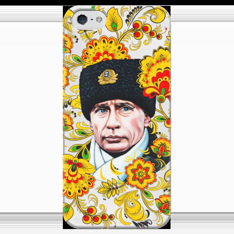 Чехол для iPhone 5 глянцевый, с полной запечаткой Printio Путин – хохлома iphone 5 ростест с гарантией купить