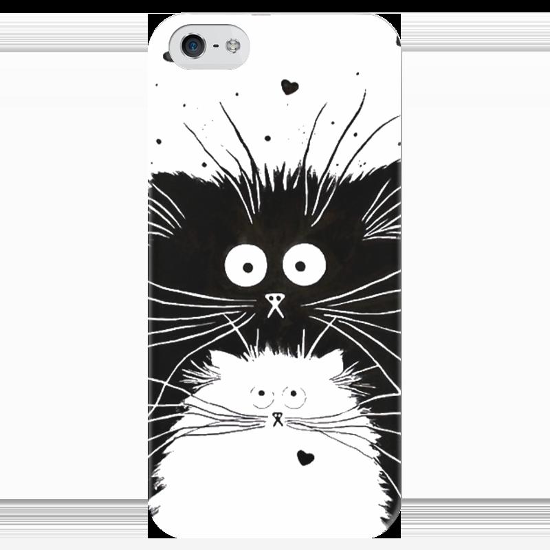 Чехол для iPhone 5 глянцевый, с полной запечаткой Printio Кот и кошка чехол для iphone 6 глянцевый printio кот бу