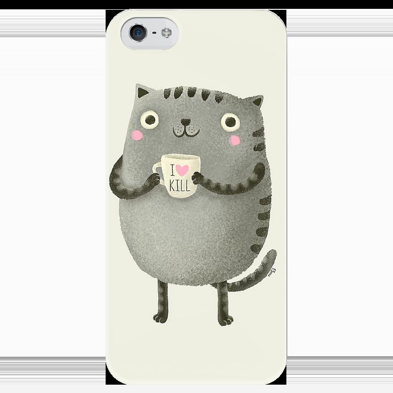 Чехол для iPhone 5 глянцевый, с полной запечаткой Printio I love kill стоимость