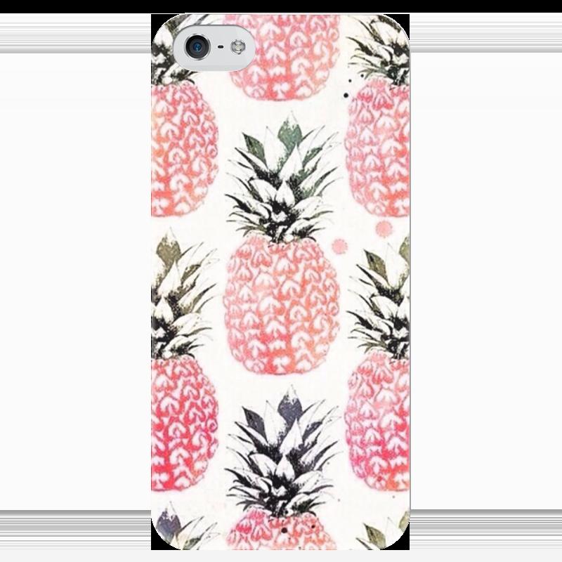 Чехол для iPhone 5 глянцевый, с полной запечаткой Printio Ананас чехол для карточек фламинго и ананас с усами дк2017 101