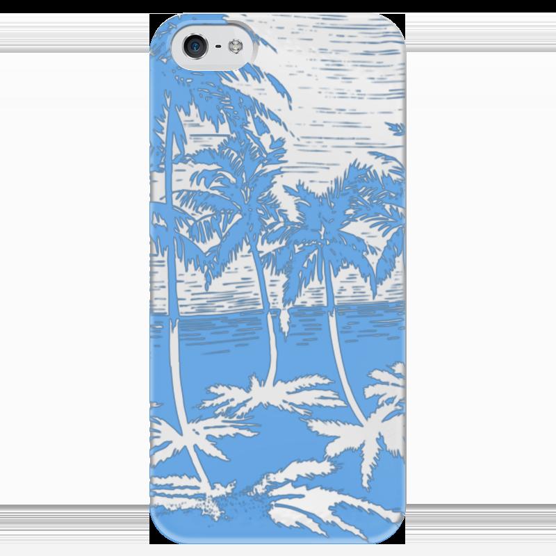 Чехол для iPhone 5 глянцевый, с полной запечаткой Printio Пальмы