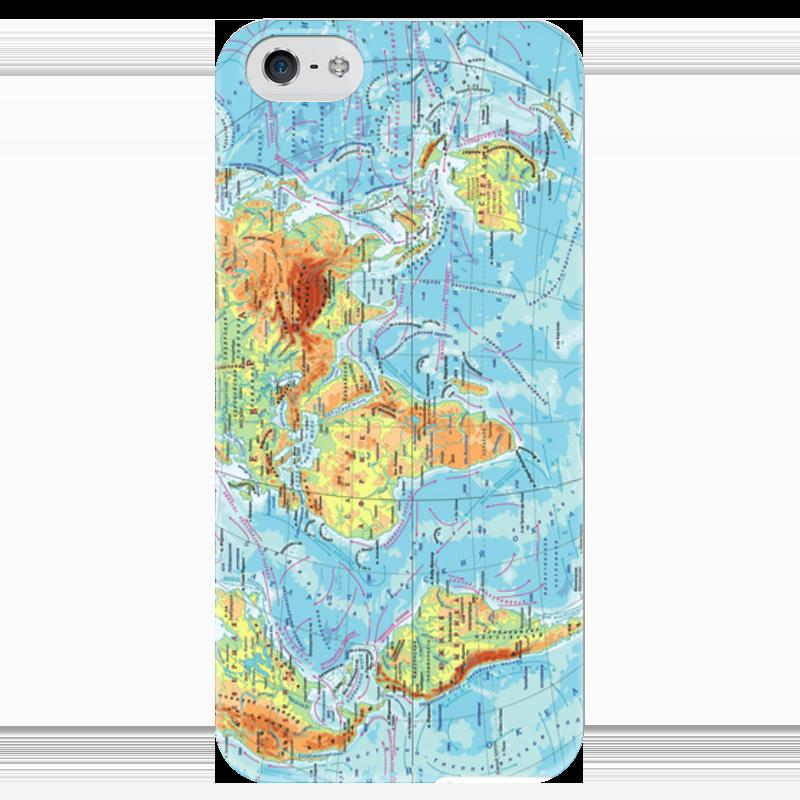 Чехол для iPhone 5 глянцевый, с полной запечаткой Printio Карта мира чартер для всех