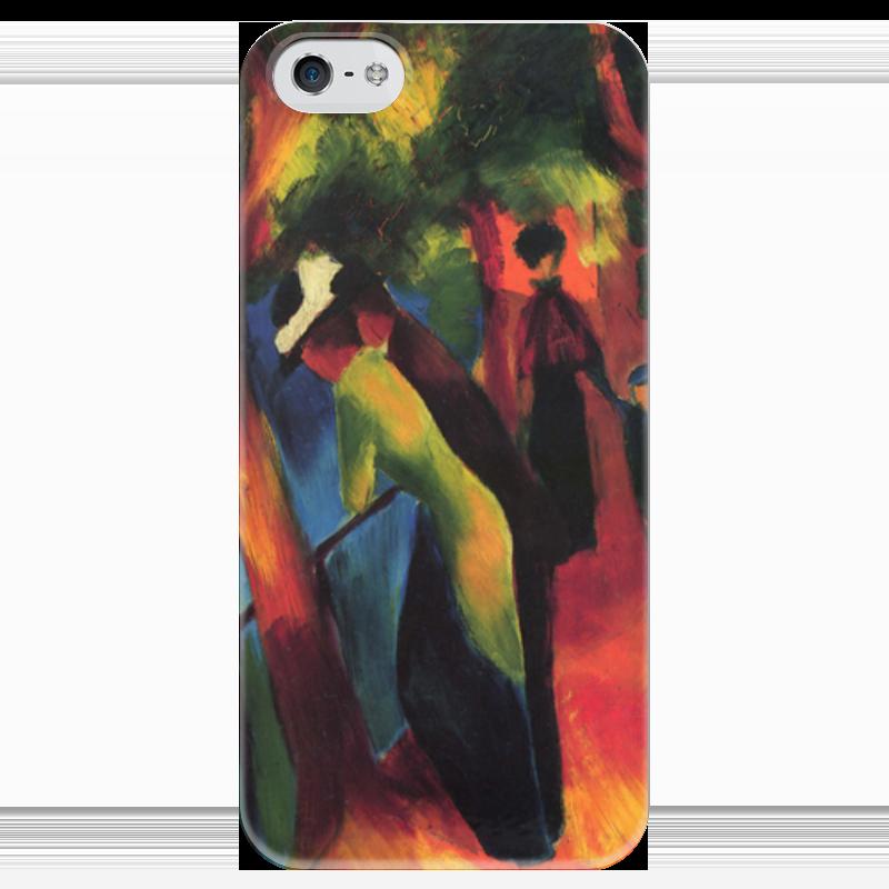 Чехол для iPhone 5 глянцевый, с полной запечаткой Printio Солнечная прогулка (август маке) чехол для iphone 4 глянцевый с полной запечаткой printio шляпный магазин август маке