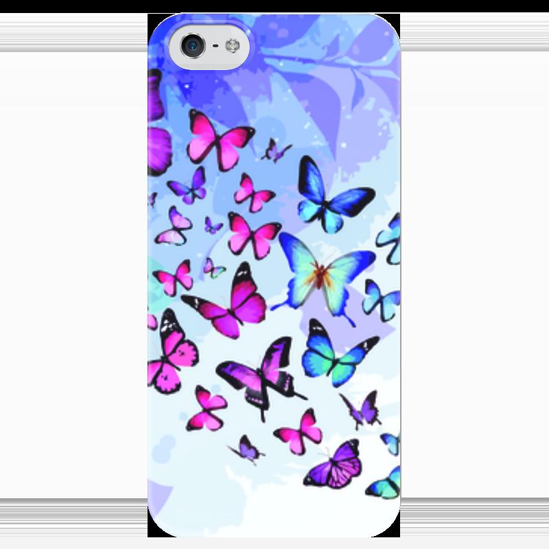 Чехол для iPhone 5 глянцевый, с полной запечаткой Printio Бабочки в листочках чехол для iphone 5 глянцевый с полной запечаткой printio заяц в узорах