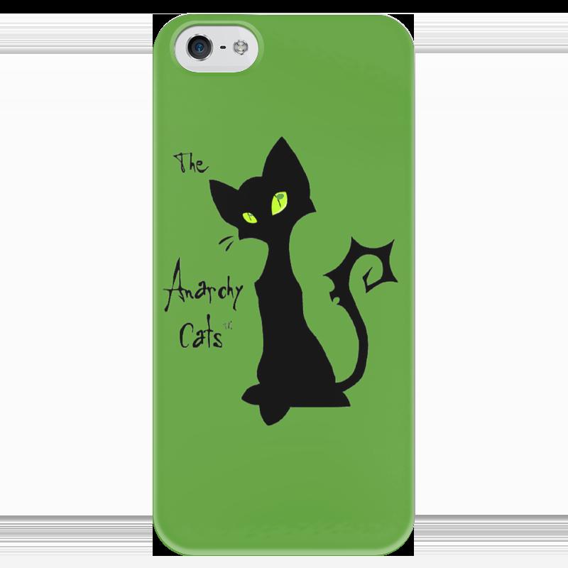 Чехол для iPhone 5 глянцевый, с полной запечаткой Printio Кот-анархист чехол для iphone 6 глянцевый printio кот бу