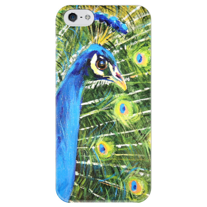 Чехол для iPhone 5 глянцевый, с полной запечаткой Printio Павлин! funny smile смартфоны huawei y5 2017 grey