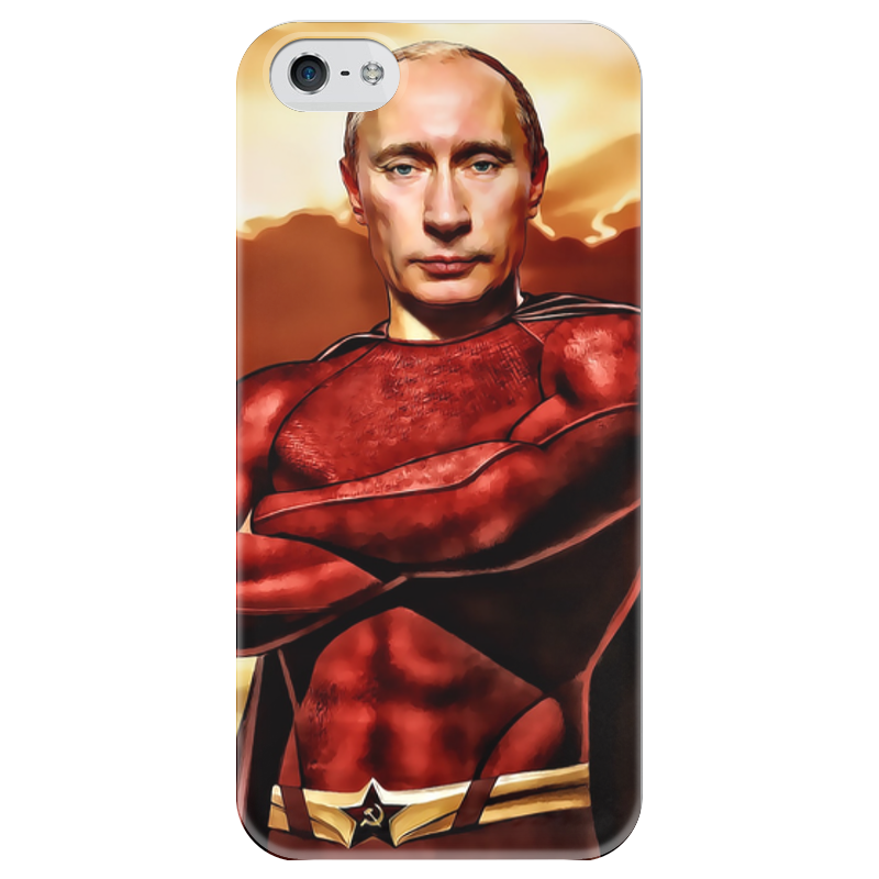 Чехол для iPhone 5 глянцевый, с полной запечаткой Printio Путин - superhero